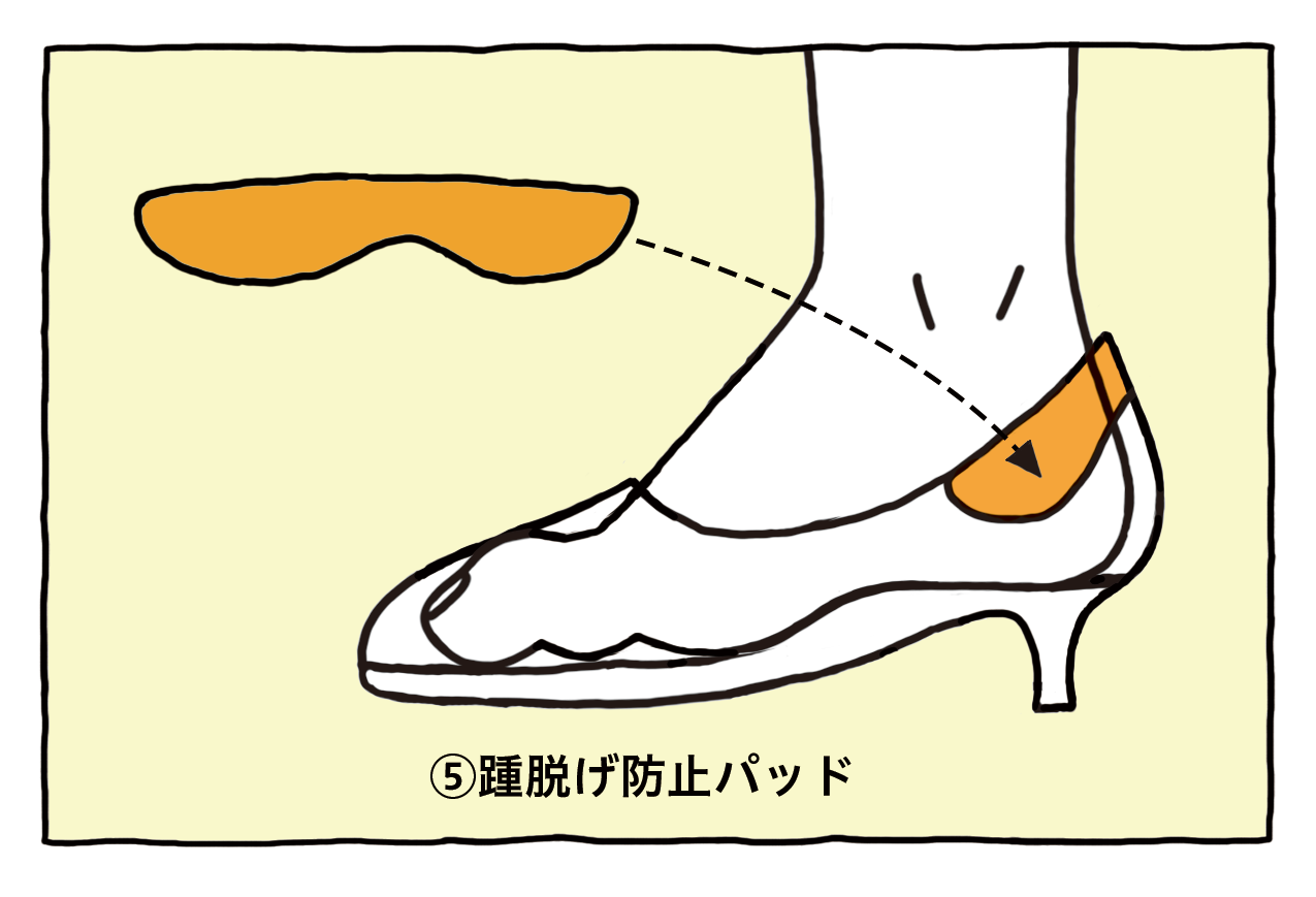 ⑤踵脱げ防止パッド