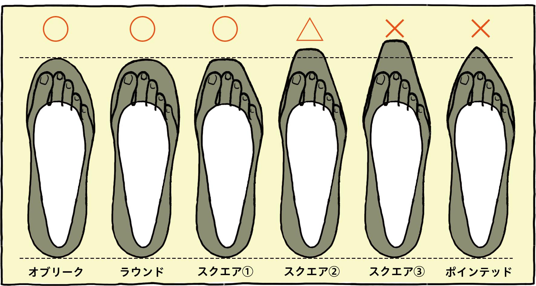 パンプスの爪先一覧